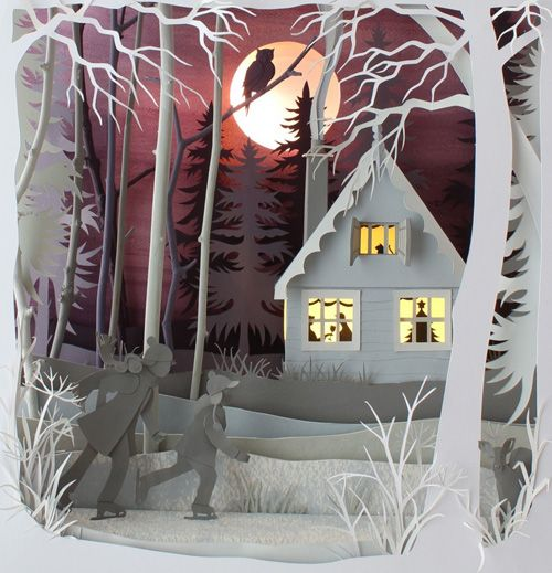 """""""Magic Cupboard""""         UK advertising campaign for Cadbury's Caramel Nibbles.         """"Winter Wood"""" Glass Dome        Cover illustra..."""
