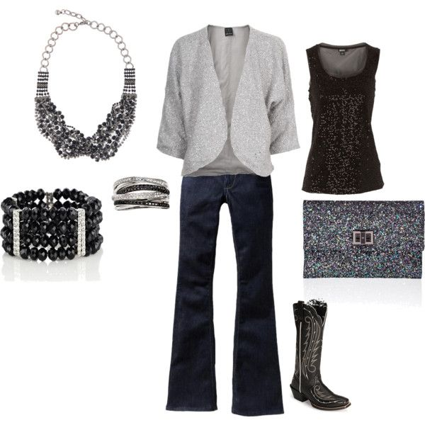 Denim & Diamonds outfit ideas, silver and black with ...