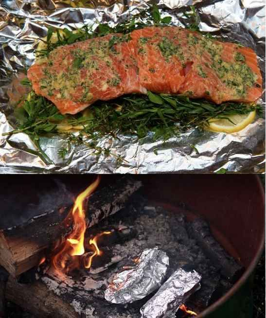 Fire-Roasted Salmon With Herbs and Lemon | 27 Delicious Recipes To Try On Your Next Camping Trip