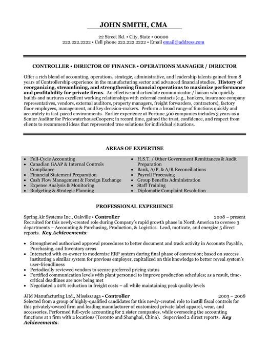 Controller Resume Examples - Template