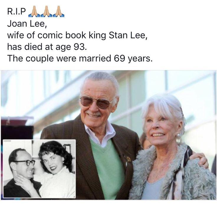 R.I.P. Joan Clayton Boocock AKA: Joan Lee, wife of comic legend Stan Lee. (07-06-1922) - (07-06-2017)