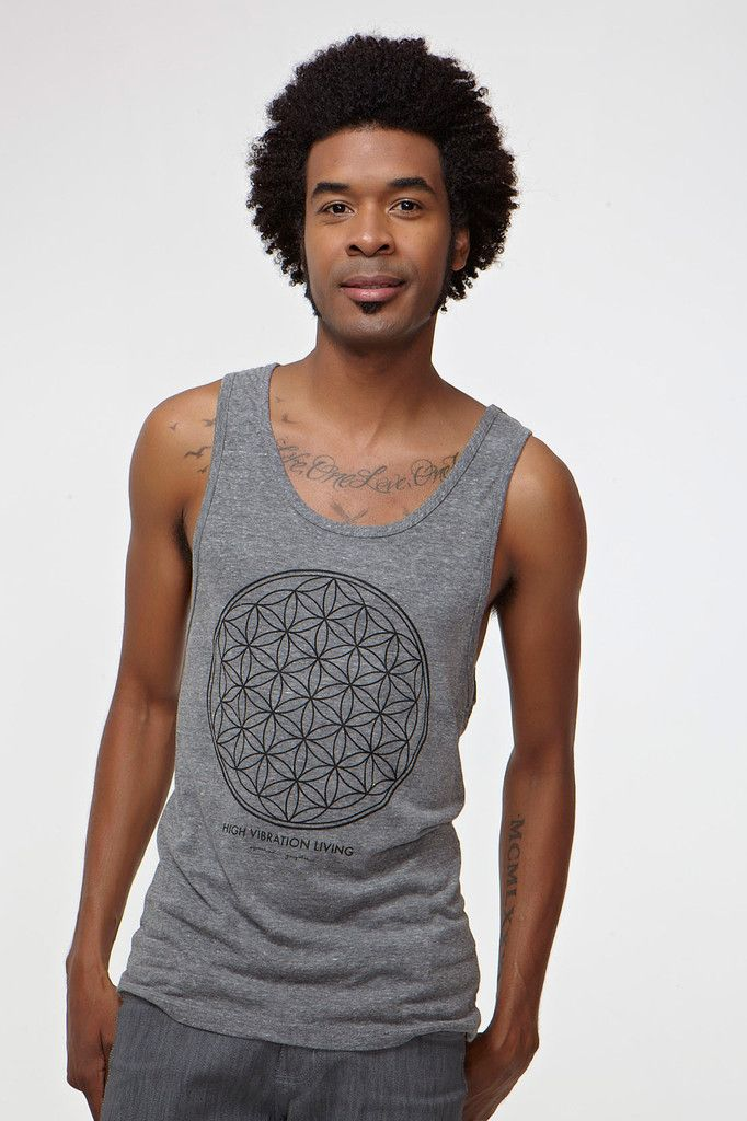 Mandala Triblend Tank in Grey, by Spiritual Gangster.