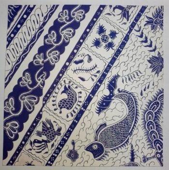 batik Indramayu / navy and white / fish