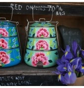 Fair Trade Mint Green Tiffin by INDICA  Price:  £49.99 This beautiful floral Tiffin is skilfully hand painted by craftspeople from Kashmir. Each one is made up of three compartments and includes three metal plates.Size:23cm height x 16cm width