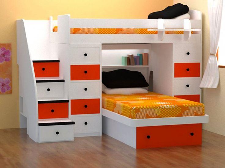 Дизайн современной спальни Экзотические с отделкой белого дерева ящик шкафа и желтый дну Черного Подушка Удивительный современного Замечательный Экзотические Design Популярные Дети экономии пространства Мебель для спальни от идей Однокомнатная