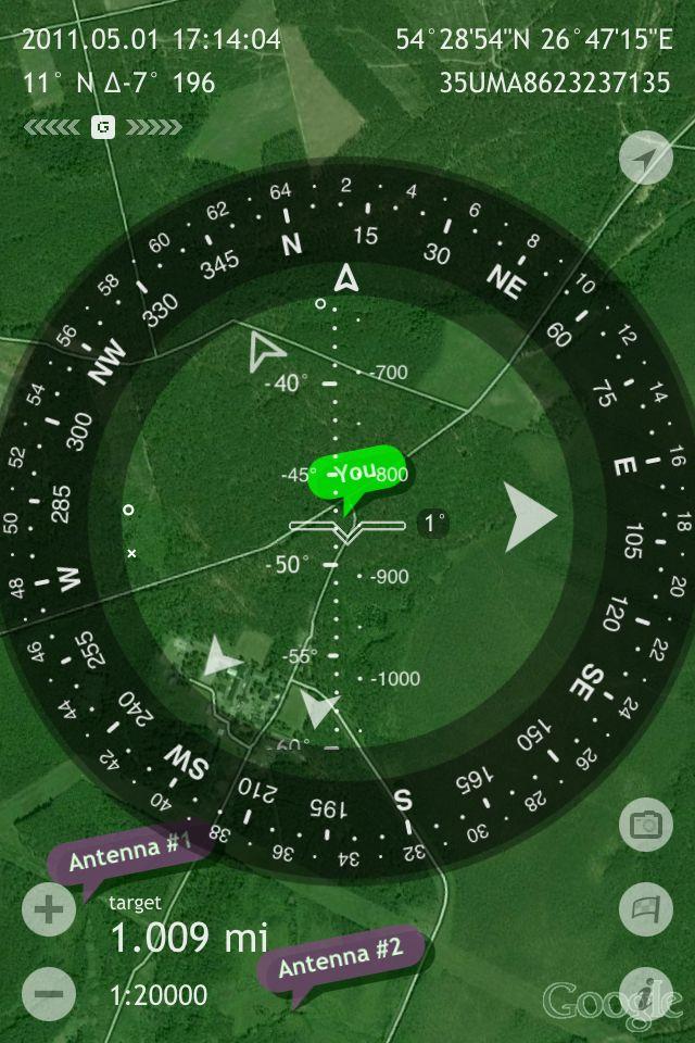 Screenshot: Commander Compass app overlays a compass, shows full GPS