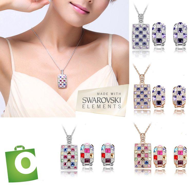 Preciosas joyas hechas con cristales de Swarovski Elements.  30mil colones el juego.  Envío gratis. #costarica #joyas #playa #puravida