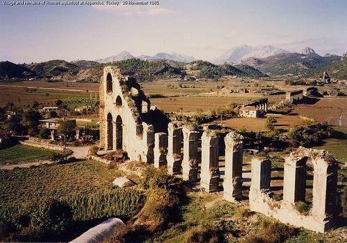 Ruins of the Roman aqueduct, Aspendos, Turkey
