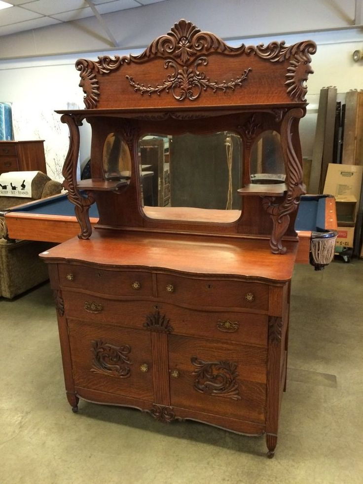 Antique ornate oak rj horner brothers era sideboard buffet ...