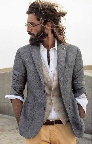 Men's Grey Blazer, Beige Waistcoat, White Long Sleeve Shirt, Khaki Chinos