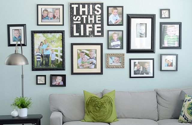 "Perfect collage for over the sofa. I want a canvas like that but one that says ""Love Lives Here""."