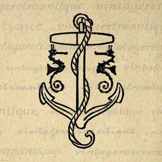 Digital Ships Anchor Printable Graphic Ocean Sea Seahorses Image Download Vintage Clip Art Jpg Png Eps 18x18 HQ 300dpi No.3569 @ vintageretroantique.etsy.com #DigitalArt #Printable #Art #VintageRetroAntique #Digital #Clipart #Download
