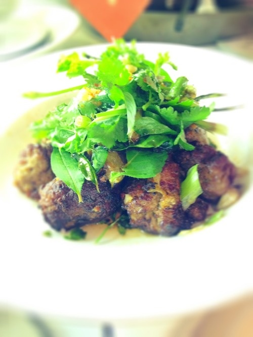 A Lao and Thai inspired dish.   Aromatic meatballs made with Warialda Beef popes eye, sinews and tendons with Greenvale Farm pork fat. I fried them with eggplant and three kinds of basil from my garden, fresh coriander, then dressed it with prik nam pla.