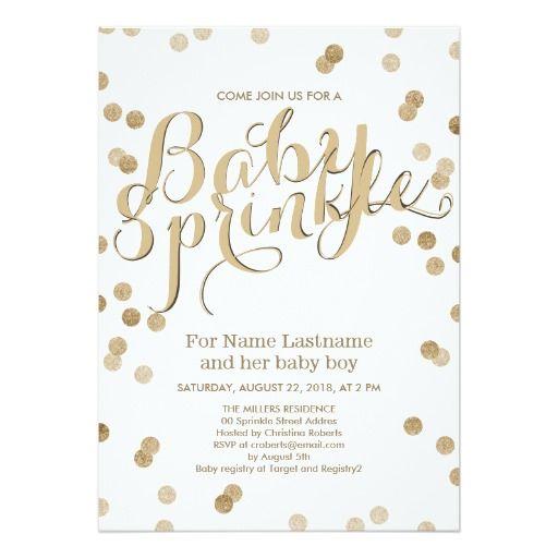 Faux Gold Confetti Modern Baby Sprinkle Invitation Card