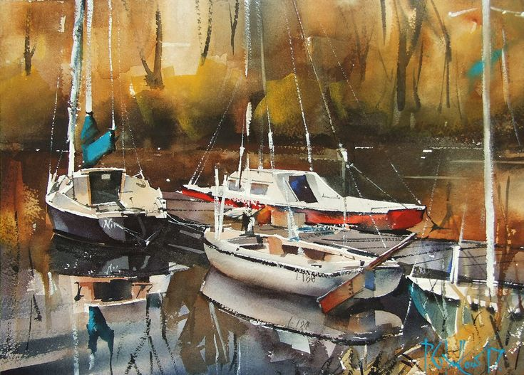 """""""Wrocław Marina II"""", watercolor landscape painting with three sailing boats by Pawel Gladkow on Deviantart."""