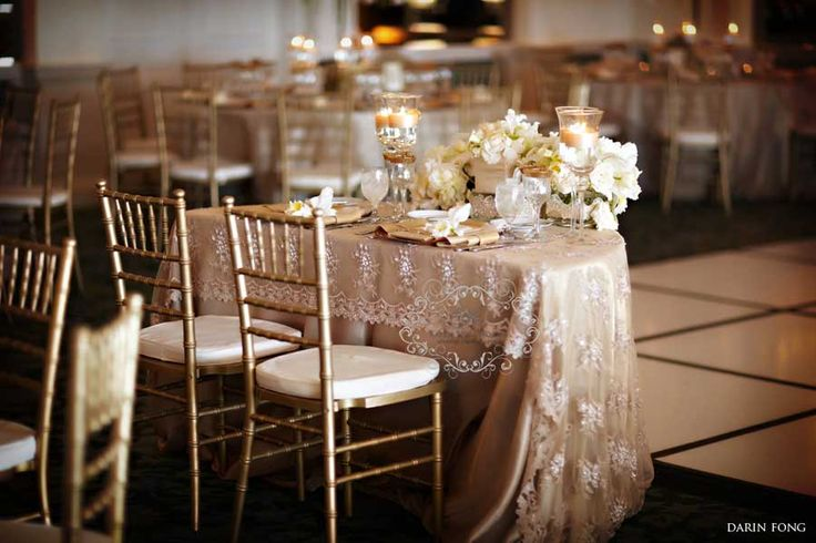 Champagne Linen With Lace Overlay Linens We Carry And