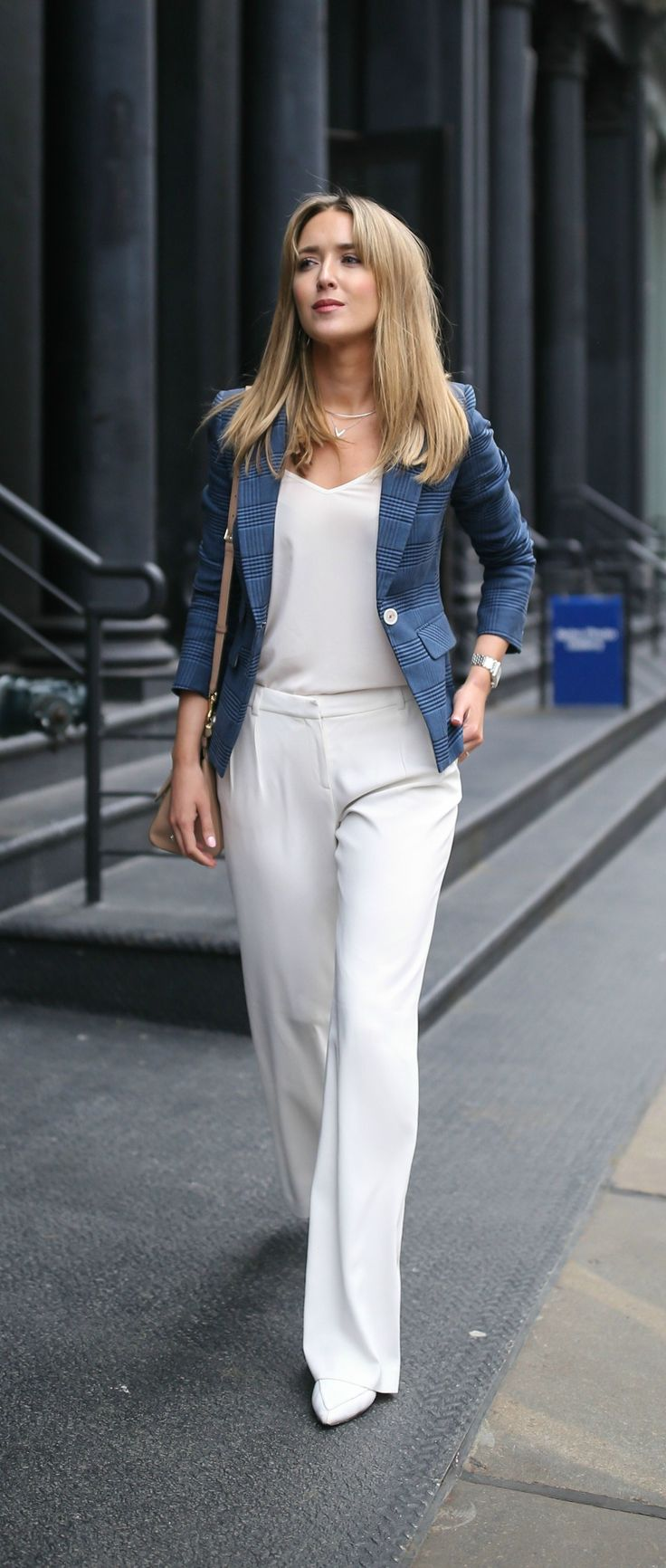 Generous white high-waisted trousers. White camisole. White is the supporting character. The star is the gorgeous marine blue glen plaid blazer. Single button closure. Five buttons at sleeve openings, Elbow patches. Multi-metal watch. One sharp preppy. Style Planet | veronica beard, nicholas kirkwood, dolce and gabbana,