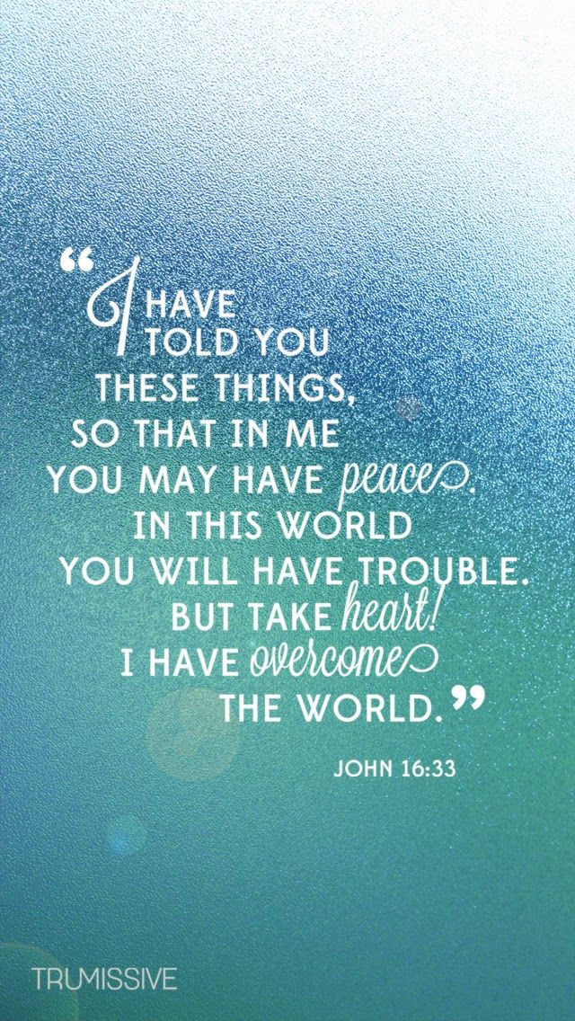 "John 16:33 ""I have told you these things, so that in me you may have peace. In this world you will have trouble. But take heart! I have overcome the world."""