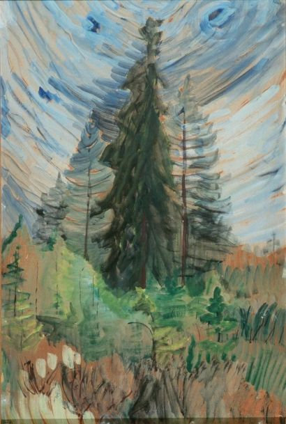 Pine Trees & Blue Sky, oil sketch on paper, by Emily Carr