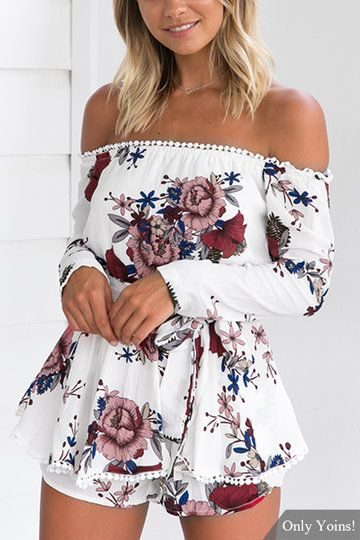 Sexy Random Floral Print Off Shoulder Playsuit with Self-tie Design