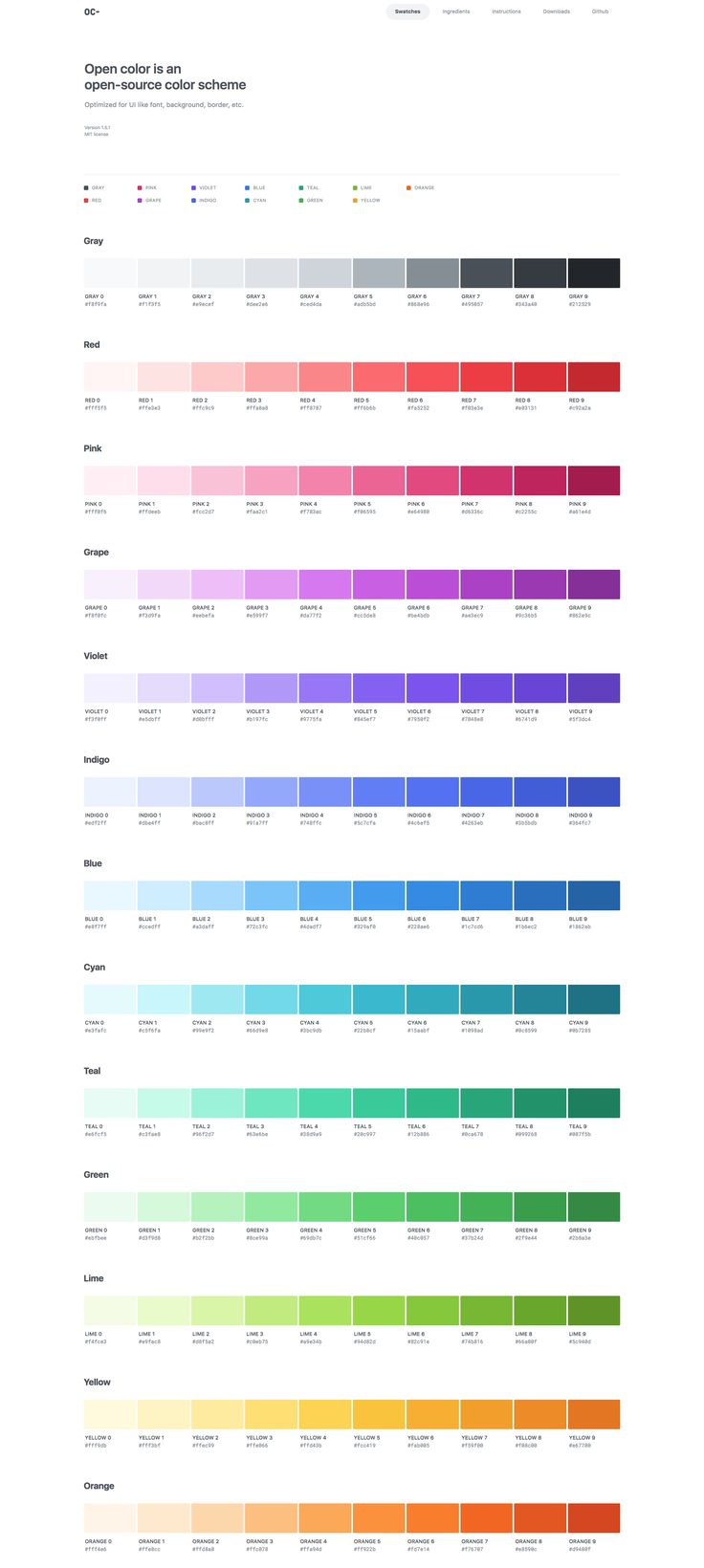 Open color is an  open-source color scheme Optimized for UI like font, background, border, etc. Version 1.5.1 MIT license 웹에 안정적인 컬러 스킴 by Heeyeun