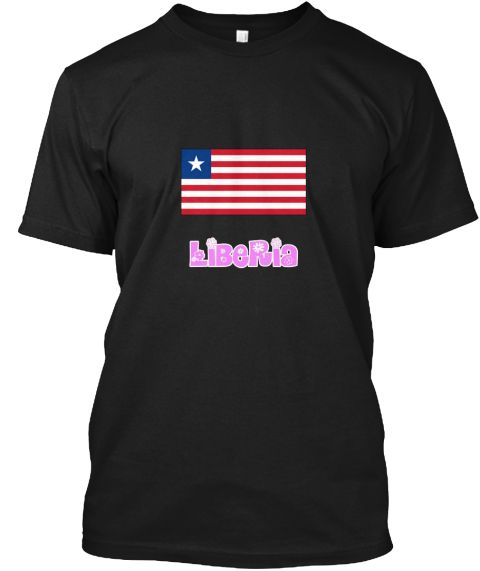 Liberia Flag Pink Flower Design Black T-Shirt Front - This is the perfect gift for someone who loves Liberia. Thank you for visiting my page (Related terms: I Heart Liberia,Liberia,Liberian,Liberia Travel,I Love My Country,Liberia Flag, Liberia Map,Liberia  #Liberia, #Liberiashirts...)
