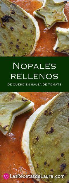 Prepara estos nopales rellenos de queso bañados en salsa de tomate, una cena deliciosa o una botana muy especial, receta fácil y rápida.