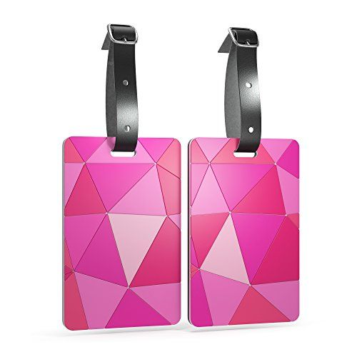Shacke Luggage Tags with Genuine Leather Strap - Set of 2 (Geo Shapes Pink)