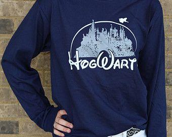 Harry Potter Bekleidung Hogwarts Castle dunkelblau Langarm Shirt Unisex Erwachsene