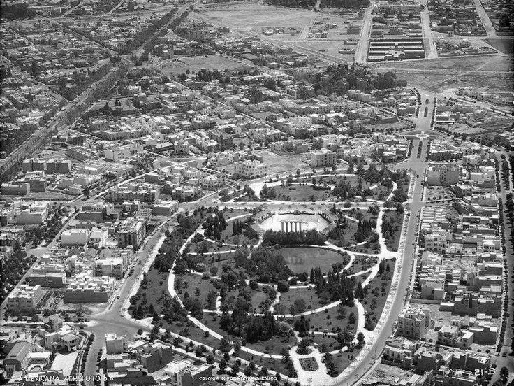 El solitario Parque México y sus alrededores en 1932. Foto: LA ciudad de México en el tiempo.