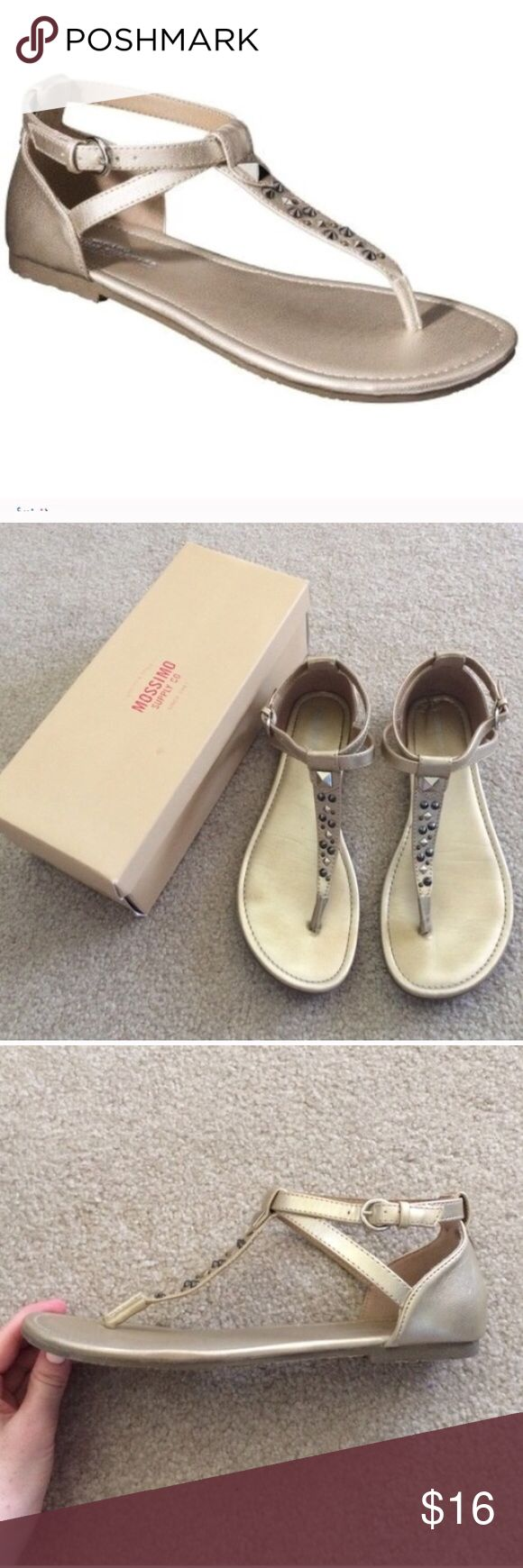 🎉Mossimo Okal Gold Studded Sandals Metallic 8 1/2 🎉DELETING TODAY Mossimo from Target Okal style Gold sandals Studded detail Strappy design Size 8 1/2 Worn twice Come with box Perfect for summer  Please ask any questions  💲Price is firm unless bundled💲 🚫No Trades🚫 📦Ask About Bundle Discounts💰 Mossimo Supply Co. Shoes Sandals