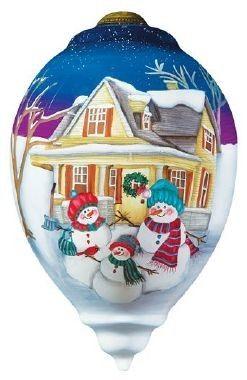 Ne'Qwa Art FAMIY TOGETHERNESS Glass Snowman Christmas Ornament