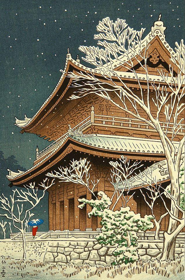 """Nieve en el templo Chioin"" (1953) de Asano Takeji (1900-1999)."
