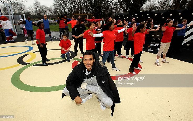 British athlete, Will Sharman opens the adiZone with children from Woodbridge school as Redbridge gets set for London 2012 with the adiZone in Redbridge on January 22, 2010 in London, England.