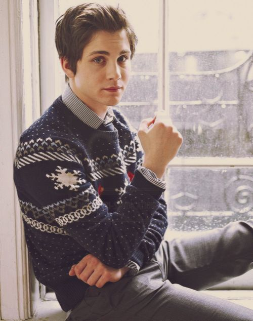 Logan Lerman, wearing a sweater :)