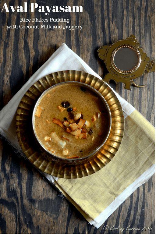 Aval Payasam ~ Beaten Brown Rice (Poha) Pudding with Jaggery and Coconut Milk - Cooking Curries - Kerala Sadya Recipes Vishu Onam (2)