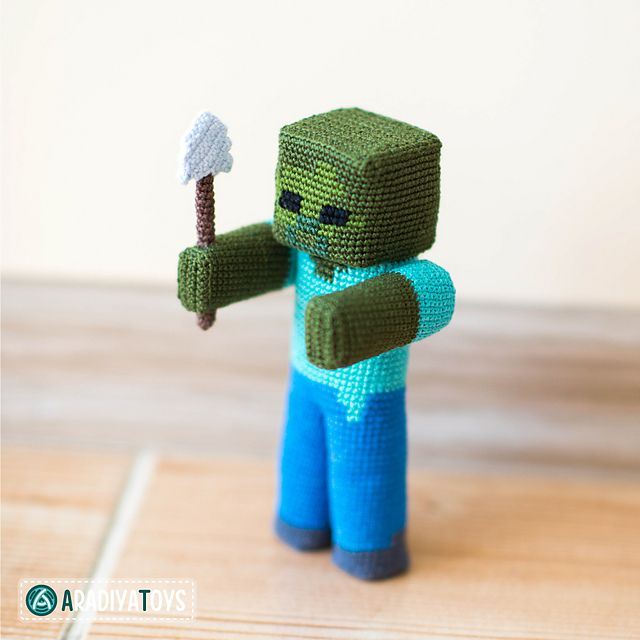"Zombie with a shovel – is a character of the popular game ""Minecraft"", that was created by Markus Persson and released by Mojang AB company."