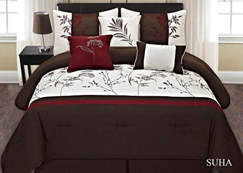 Fancy Collection 7-pc Embroidery Bedding Brown Off White