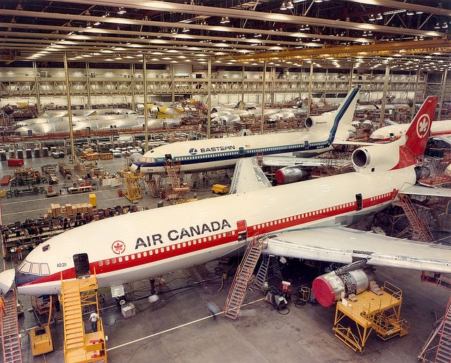 Air Canada and Eastern Airlines L-1011 TriStars on the assembly line at the Lockheed plant in Palmdale, California.