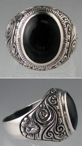 New Genuine .925 Sterling Silver Mens 12.1 grams Bold Black Onyx Ring Sizes 9-13 #Band