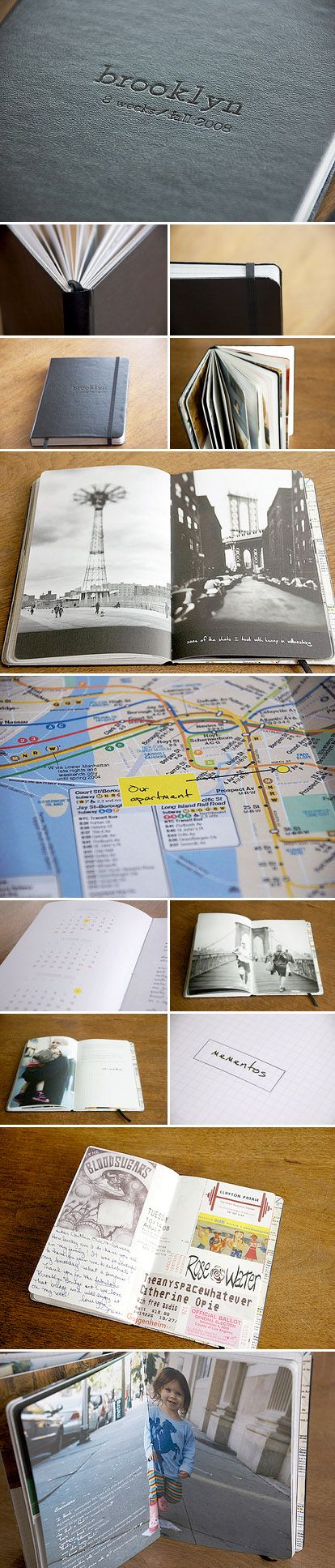 Custom made moleskin wedding, honeymoon and travel albums from Good Stock Press and Bindery