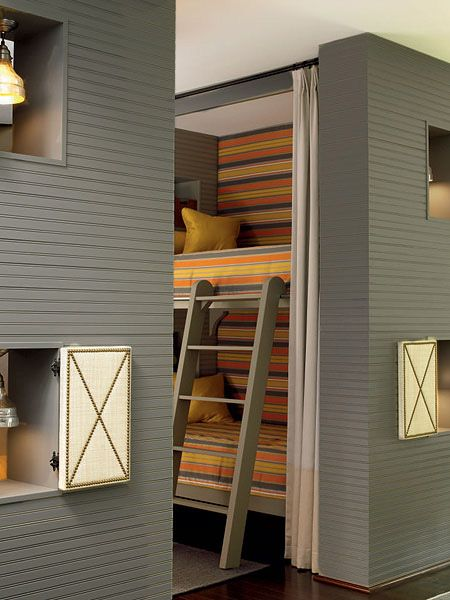 inset beds and love the little window openings with studded shutters