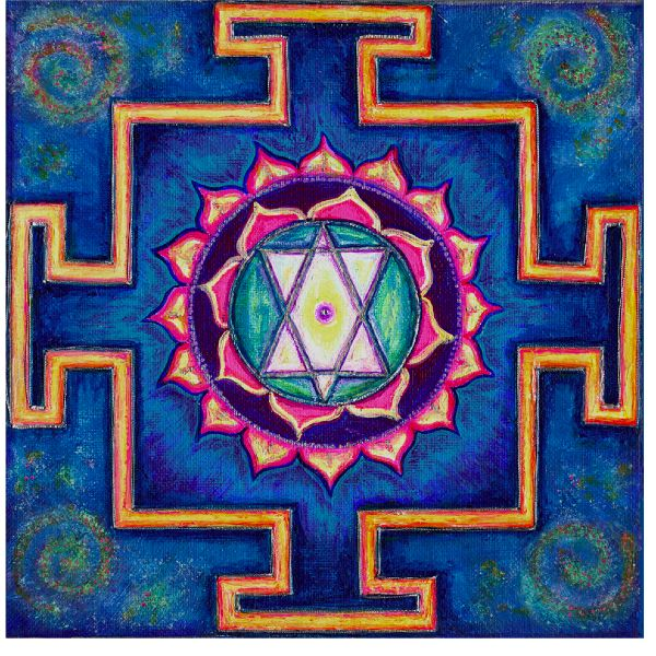The Saraswati yantra brings manifold blesssings in love and relationships as well as healing and knowledge.  Saraswati brings inspiration and  help for artists, musicians and all kinds of creativity.