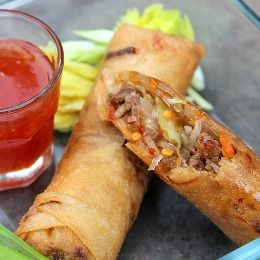 Kim Chee Lumpia - This is a similar recipe to how I like making my basic lumpia. It's pretty much the same thing without the Kim chee and hot sauce. The long rice gives it a nice texture and makes it stand out over typical won ton style. The long rice seems to work better with lumpia.
