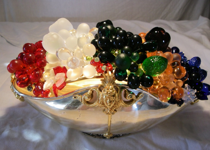 Antique czech glass fruit lamp beaded sugared
