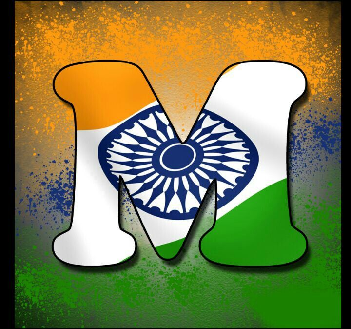 Independence day indian alphabet flag letter M tiranga profile picture dp