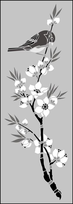 Japanese Bird & Blossom Panel stencils, stensils and stencles