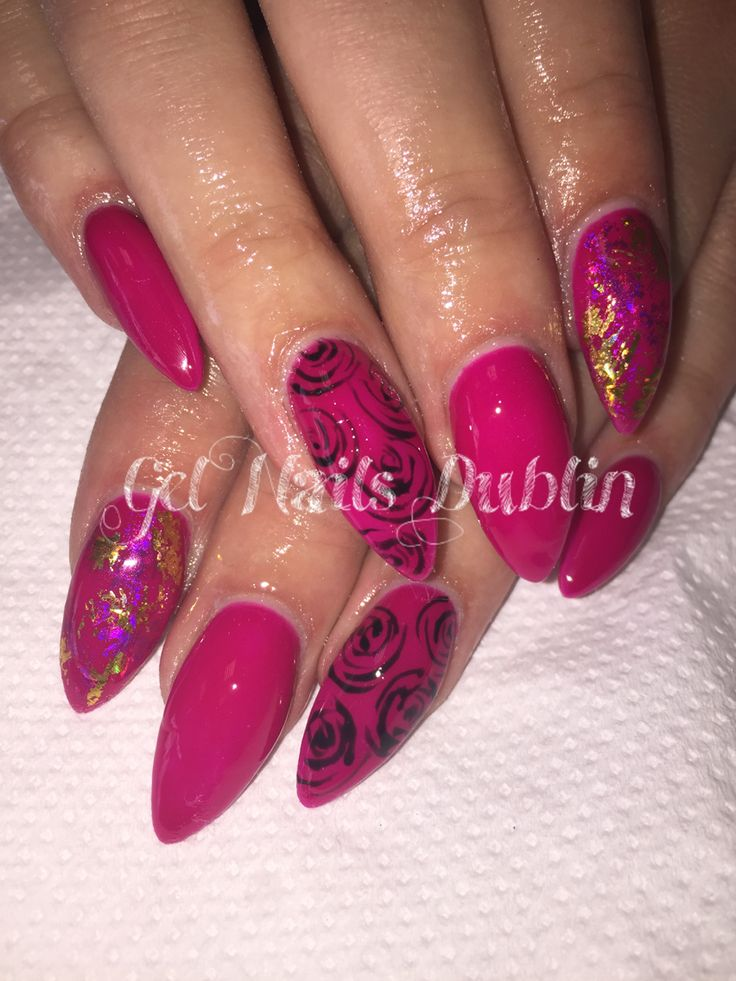 Raspberry pink with foils & freehand roses