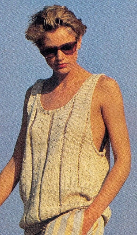 80S SUMMER COOL FAWN BAGGY WOMENS SINGLET ONE SIZE DMC COTTON KNITTING PATTERN