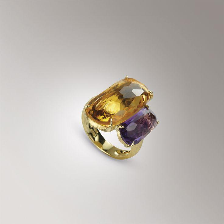 Anelli - oro-giallo - gemme colorate - ametista e topazio - ametista e rodolite - quarzo giallo e topazio - Marco Bicego AB507 MIX07